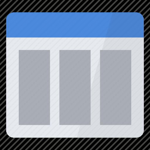 columns, configuration, layout, preferences, settings, three, window icon