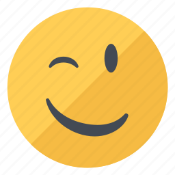emoji, emoticon, emotion, expression, smiley, wink, yellow icon