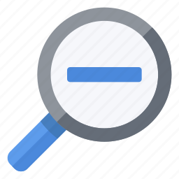 glass, less, magnifying, minus, out, zoom icon