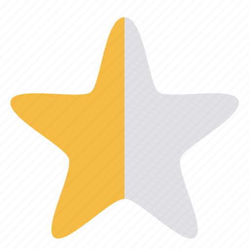 grayed, half, neutral, rating, star, yellow icon