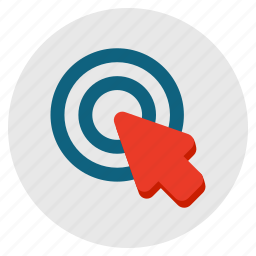 aim, arrow, click, interfaction, location, pointer icon