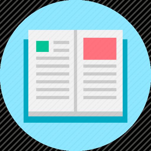 book, open book, read, study, text icon