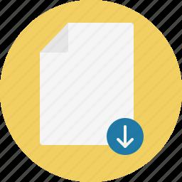 arrow, doc, document, download, file icon