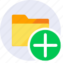 add, create, folder, more, open, plus, sign icon