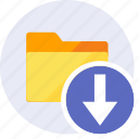 arrows, direction, down, download, folder, import, move icon