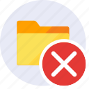 cancel, close, delete, exclude, folder, remove, trash icon