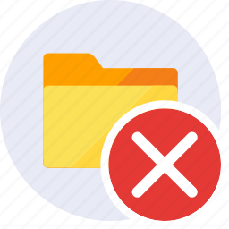 cancel, close, delete, exclude, folder, remove, trash icon