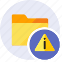 alert, attention, danger, folder, info, information, warning icon