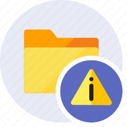 alert, attention, danger, folder, info, information, warning icon