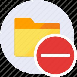 cancel, close, delete, exit, folder, minus, remove icon