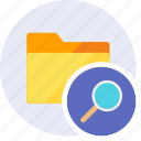 find, folder, glass, search, seo, view, zoom icon