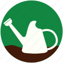 garden, gardening, grass, plant, rose, watering can, watering pot icon