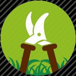 cultivator, garden, gardening, grass, nature, plant, scissors icon