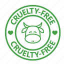 animal testing, cow, cruelty, free, stamp, vegan, vegetarian icon