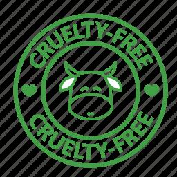 animal testing, cow, cruelty, free, stamp, vegan, vegetarian icon