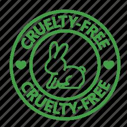 animal testing, cruelty, free, rabbit, stamp, vegan, vegetarian icon