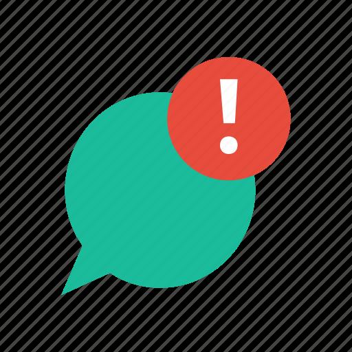 alert, bubble, chat, speech icon