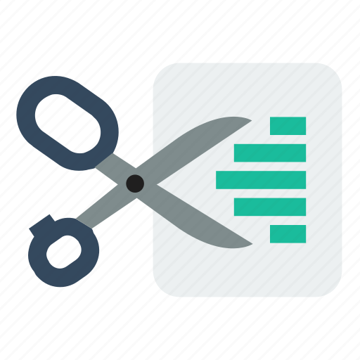 cut, document, scissors icon