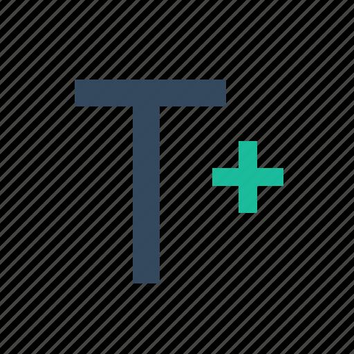 bigger, plus, resize, text, type icon
