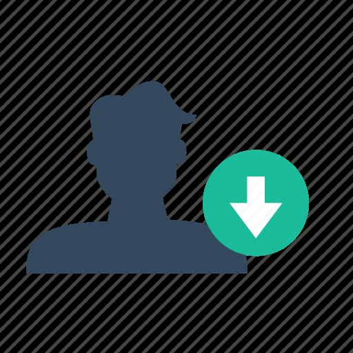 down, sort, user icon