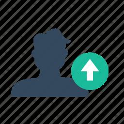 arrow, sort, up, user icon