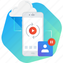 cloud, mobile, movie, recording, stream, video icon