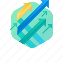 arrow, business, chart, growth, increase, report, success icon
