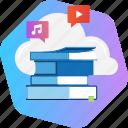app, book, cloud, education, music, social media, video icon