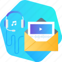 audio, course, education, email, online, training, video icon