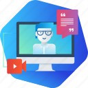 comminication, course, education, online, training, tutorial, video icon