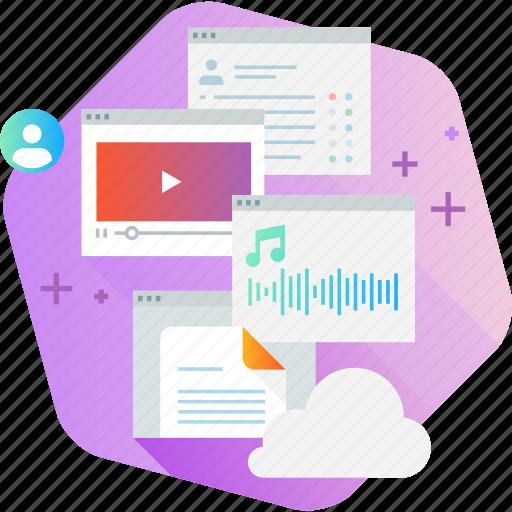 app, cloud, education, media, social, training, video icon