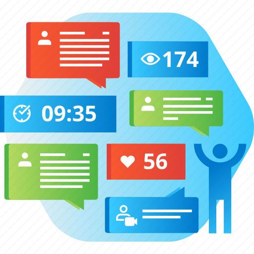 chat, communication, media, network, networking, review, social icon