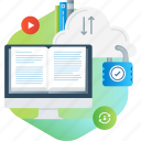 cloud, courses, distance, e-learning, ebook, education, online icon