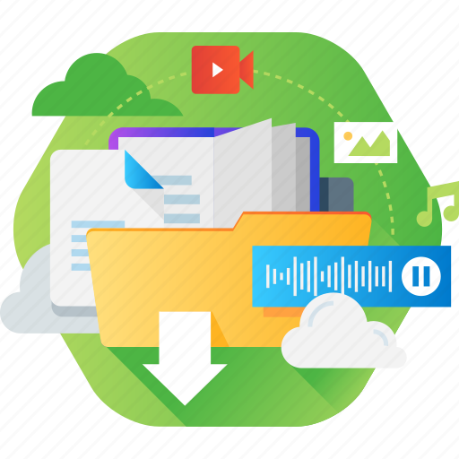 business, cloud, computing, document, music, storage, video icon