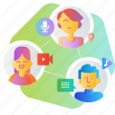 communication, community, contact, group, networking, share, social media icon