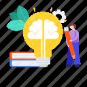 big idea, brain power, creative imagination, intelligence, knowledge, mind power