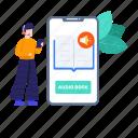 audio learning, audio lesson, audiobook, digital learning, elearning, mobile, mobile audiobook icon