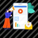 advertisement, content marketing, digital marketing, marketing, mobile, mobile marketing, video marketing icon