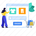 online, online order, order, order booking, product selection, purchase order, shopping website icon