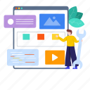 blog post, development, video blogging, video content, web, web designing, web development icon