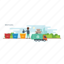 recover goods, recycling, reproduce products, reuse, utilize waste icon