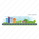 developed city, established site, metropolitan area, urban area, urban landscape icon