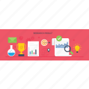 analysis, exploring, online research, researching, search result icon