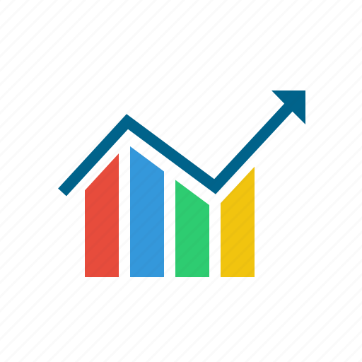arrow, chart, graph, infographic, report, statistics, up icon