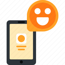 chat, emoji, message, mobile, phone, smartphone, smile icon