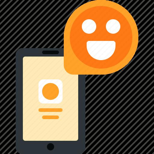 chat, emoji, message, mobile, phone, smartphone, smile icon