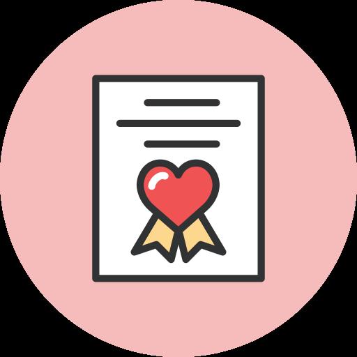 award, heart icon