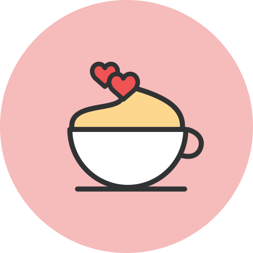 coffee, cup, hearts icon