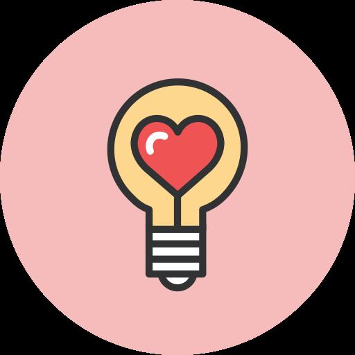 bulb, heart icon