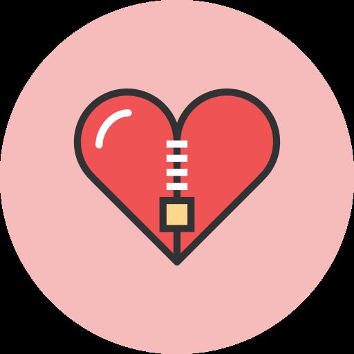 heart, valentines, zipper icon